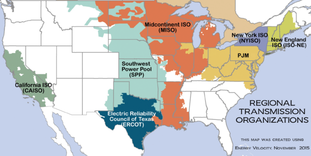 FERC oversees the regional grid operators in the continental United States except for Texas.